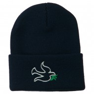Dove Symbol Embroidered Long Beanie - Navy