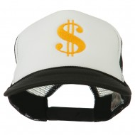 Dollar Sign Logo Embroidered Foam Mesh Back Cap - Black White