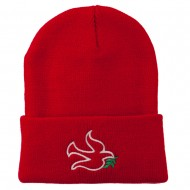 Dove Symbol Embroidered Long Beanie - Red