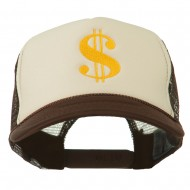 Dollar Sign Logo Embroidered Foam Mesh Back Cap - Brown Tan