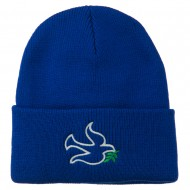 Dove Symbol Embroidered Long Beanie - Royal