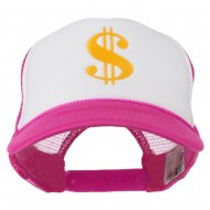 Dollar Sign Logo Embroidered Foam Mesh Back Cap - Hot Pink White