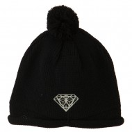 Diamond Embroidered Pom knitting Hat - Black