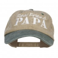 Real Friend Papa Embroidered Washed Cap - Khaki Green