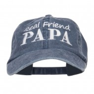 Real Friend Papa Embroidered Washed Cap - Navy