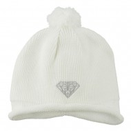 Diamond Embroidered Pom knitting Hat - White