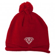 Diamond Embroidered Pom knitting Hat - Red