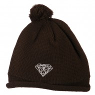 Diamond Embroidered Pom knitting Hat - Brown