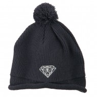Diamond Embroidered Pom knitting Hat - Charcoal