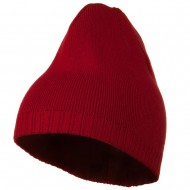 Decorative Ribbed Short Beanie - Red