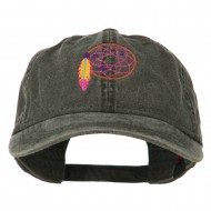 Dream Catcher Embroidered Washed Cap - Black