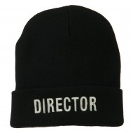 Director Embroidered Long Beanie - Black