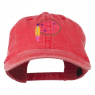 Dream Catcher Embroidered Washed Cap - Red