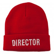 Director Embroidered Long Beanie - Red
