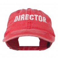 Director Embroidered Washed Cotton Cap - Red