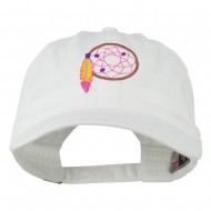 Dream Catcher Embroidered Washed Cap - White