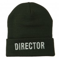Director Embroidered Long Beanie - Olive