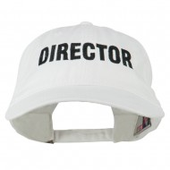 Director Embroidered Washed Cotton Cap - White