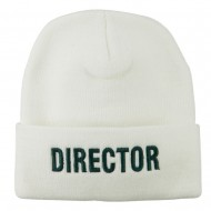 Director Embroidered Long Beanie - White