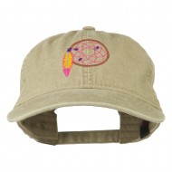 Dream Catcher Embroidered Washed Cap - Khaki
