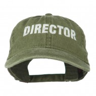 Director Embroidered Washed Cotton Cap - Olive Green