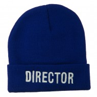 Director Embroidered Long Beanie - Royal