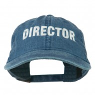 Director Embroidered Washed Cotton Cap - Navy