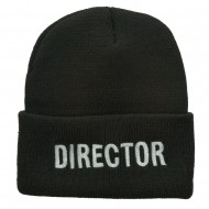 Director Embroidered Long Beanie - Grey