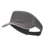Contrast Stitch Sandwich Visor - Charcoal Pink