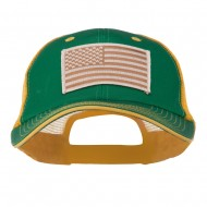 Desert American Flag Patched Big Size Washed Mesh Cap - Kelly Gold