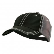 Cotton Twill Wash Distressed Cap - Black Grey