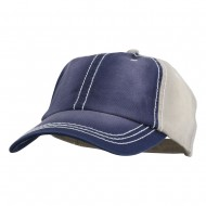 Cotton Twill Wash Distressed Cap - Navy Khaki
