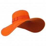 Ladies Toyo Braid Ribbon Sun Hat - Orange