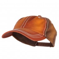 Cotton Twill Wash Distressed Cap - Orange Brown