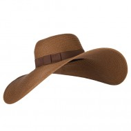 Ladies Toyo Braid Ribbon Sun Hat - Brown