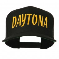 Daytona Embroidered Flat Bill Cap - Black