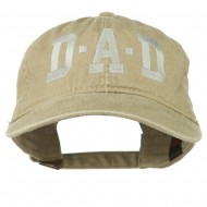 DAD Grey Letter Embroidered Washed Cotton Cap - Khaki