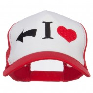 I Heart Left Embroidered 5 Panel Mesh Cap - White Red