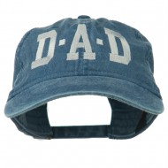 DAD Grey Letter Embroidered Washed Cotton Cap - Navy