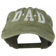 DAD Grey Letter Embroidered Washed Cotton Cap - Olive Green