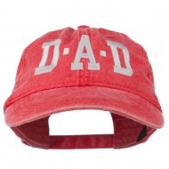 DAD Grey Letter Embroidered Washed Cotton Cap - Red