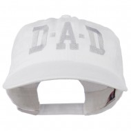 DAD Grey Letter Embroidered Washed Cotton Cap - White