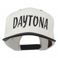 Daytona Embroidered Flat Bill Cap - Natural Black