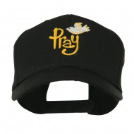 Wording of Pray with Dove Embroidered Cap - Black