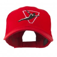 Diving Man Logo Embroidered Cap - Red