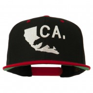 3D California Map Bear Embroidered Two Tone Snapback Cap - Black Red
