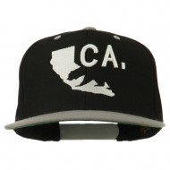 3D California Map Bear Embroidered Two Tone Snapback Cap - Black Silver