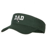 Dad with Military Dog Tags Embroidered Cotton Twill Sun Visor - Dk Green