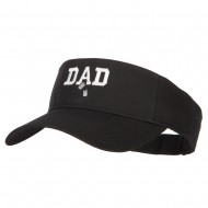 Dad with Military Dog Tags Embroidered Cotton Twill Sun Visor - Black