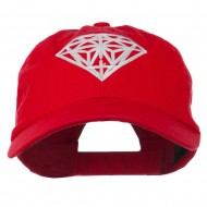 Diamond Jewelry Logo Embroidered Low Profile Washed Cap - Red